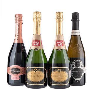 Lote de Champagne y Vino Espumoso de Italia y Francia. Franciacorta. Particolare. en presentaciones de 750 ml. Total de piezas: 4.