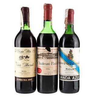 Lote de Vinos Tintos de España y Francia. Chateau Pavie.  Viña Alberdi. En presentaciones de 700 ml y 750 ml. Total de piezas: 3.
