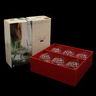 Juego de 6 copas para cognac. Francia, SXX. Elaboradas en cristal Sevres. Con caja original.