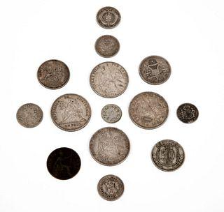 Lote de monedas del Siglo XIX. Guatemala, Chile, Perú Inglaterra y otros. Elaboradas en plata y metal. Piezas: 14