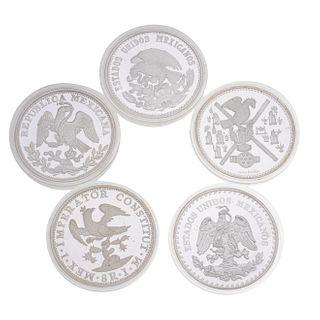 Cinco monedas de 5 onzas de plata ley .999. FUSION DE DOS CULTURAS. Peso: 776.6 g.