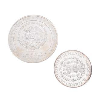 Dos monedas en plata .999 y .925. 5 onzas PIEDAD DE TIZOC y Colegio de Notarios del Distrito Federal. Peso:  218.2 g.