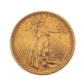 Moneda de 20 dólares en oro de 21k. Peso: 33.5 g.