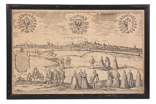 FRANS HOGENBERG (1535 - 1590) WITH GEORG BRAUN (1541 - 1622) PANORAMA OF NUREMBERG, BAVARIA, FRAMED