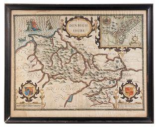 JOHN SPEED (ENGLAND, 1551 or 1552 – 1629) MAP OF DENBIGHSHIRE COUNTY, 1610, FRAMED