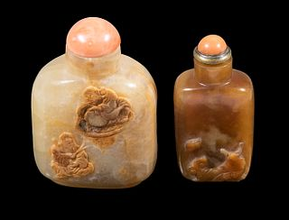 (2) CHINESE CARVED SNUFF BOTTLES