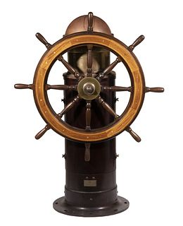 19TH C. SHIP'S WHEEL HELM WITH BINNACLE MOUNT (LACKING COMPASS)