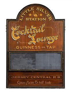 """HAND PAINTED ADVERTISING SIGN: """"LITTLE SILVER STATION - JERSEY CENTRAL RR"""""""