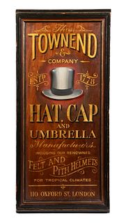 """HAND PAINTED ADVERTISING SIGN """"TOWN END HATS"""""""