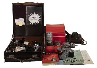 LEICA LEITZ 35MM CAMERA WITH ACCESSORIES