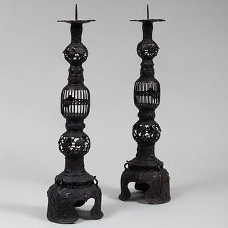 Pair of Japanese Bronze Pricket Sticks
