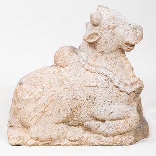 Indian Granite Figure of Nandi Bull, South India