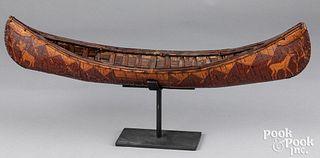 Native American Indian birch bark canoe model