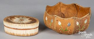 Two Native American Indian quill work items