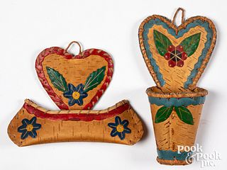 Two Micmac Indian birch bark hanging wall boxes