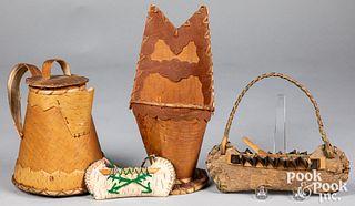 Woodlands Indian birch bark items