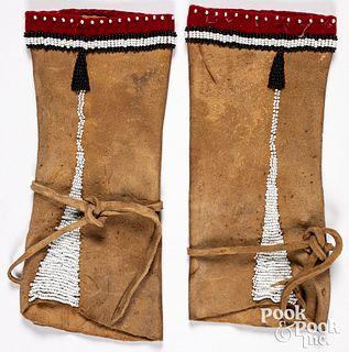 Pair of Woodlands Indian beaded leggings, 20th c.