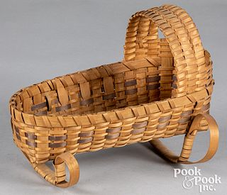 Woodlands Indian woven doll cradle