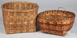 Two Woodlands Indian woven baskets