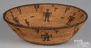 Apache Indian figural coiled tray basket