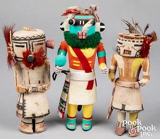 Three Hopi Indian kachina dolls