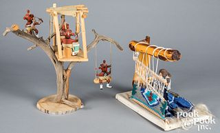 Two contemporary Native American Indian dioramas