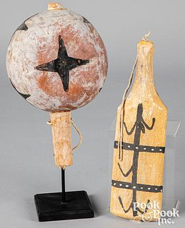 Plains Indian gourd rattle and dance paddle