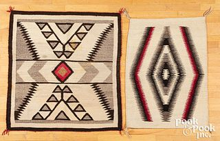 Two Navajo Indian textile rugs