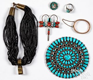 Zuni Indian silver and turquoise jewelry