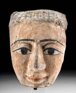 Egyptian Polychrome / Gesso Wood Mummy Mask