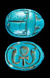 Superb Egyptian Faience Scarab Pendant w/ Ankh & Uraei