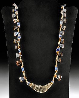 Ancient Roman Gold & Glass Beaded Necklace
