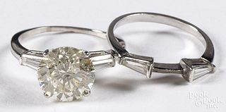 Platinum and diamond wedding band set, size 7 1/2,