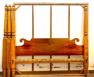 American Maple Four Post Tester Bed, 19thc.