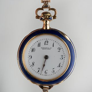 Tiffany & Co. 18k Gold and Enamel Pocket Watch