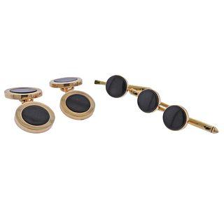 Tiffany & Co 14k Gold Onyx Cufflinks Stud Set