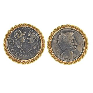 Large 14k Gold Coin Cufflinks