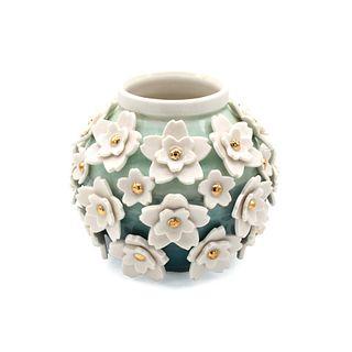 Floral Applique Bulb Vase