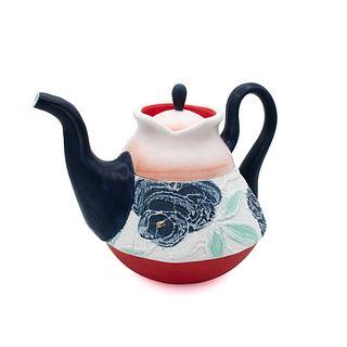 Navy Lace Blush Teapot