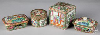 Four Chinese export rose medallion covered boxes