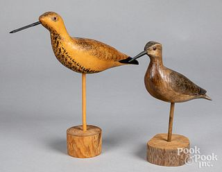 Two carved and painted shorebird decoys, 20th c.