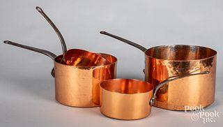 Four copper & iron cookware pots, 19th c.