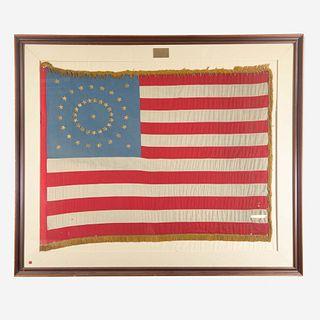 A 43-Star American Ceremonial Flag commemorating Idaho statehood circa 1890