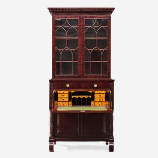 A Classical figured mahogany and bird's eye maple secretary bookcase Attributed to Anthony G. Quervelle (1789-1856), Philadelphia, PA, circa 1830