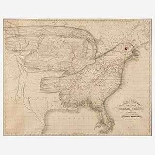The Eagle Map of the United States Engraved for the Rudiments of National Knowledge Joseph (1767-1837) and James (b. 1811) Churchman, Philadelphia, PA
