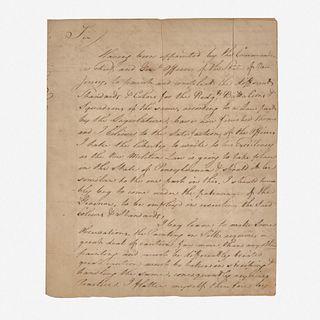 Letter to First Pennsylvania Governor Thomas Mifflin (1744-1800) regarding Militia Flag designs Francis Rabineau (active 1791-1804), Brunswick (New Je