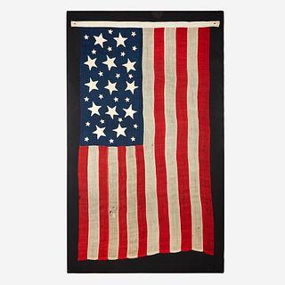 A rare 13-Star American National Flag with 21 'Scattered Stars' circa 1824 and updated later
