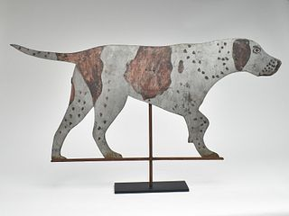 Sheet metal weathervane of a pointer, probably 2nd quarter 20th century.