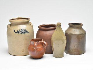Five pieces of stonewear last half 19th century.