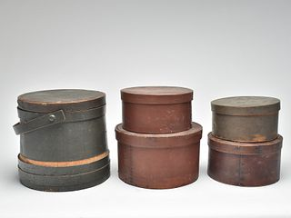 Five wooden items, four measures and one firkin